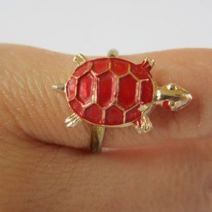 Child's Gold and Red Turtle Ring Adult Teen Pinkie